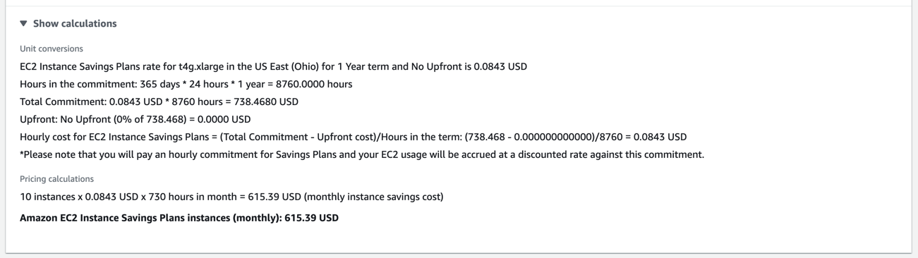 Show AWS Pricing calculations