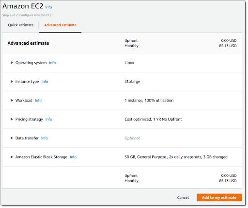Advanced EC2 estimate
